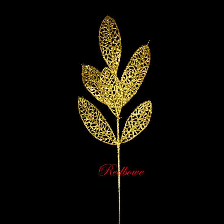 Веточка с ажурными листьями  золотая П452