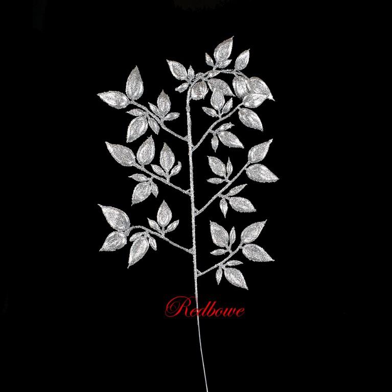 Веточки с листьями  серебряные  П454