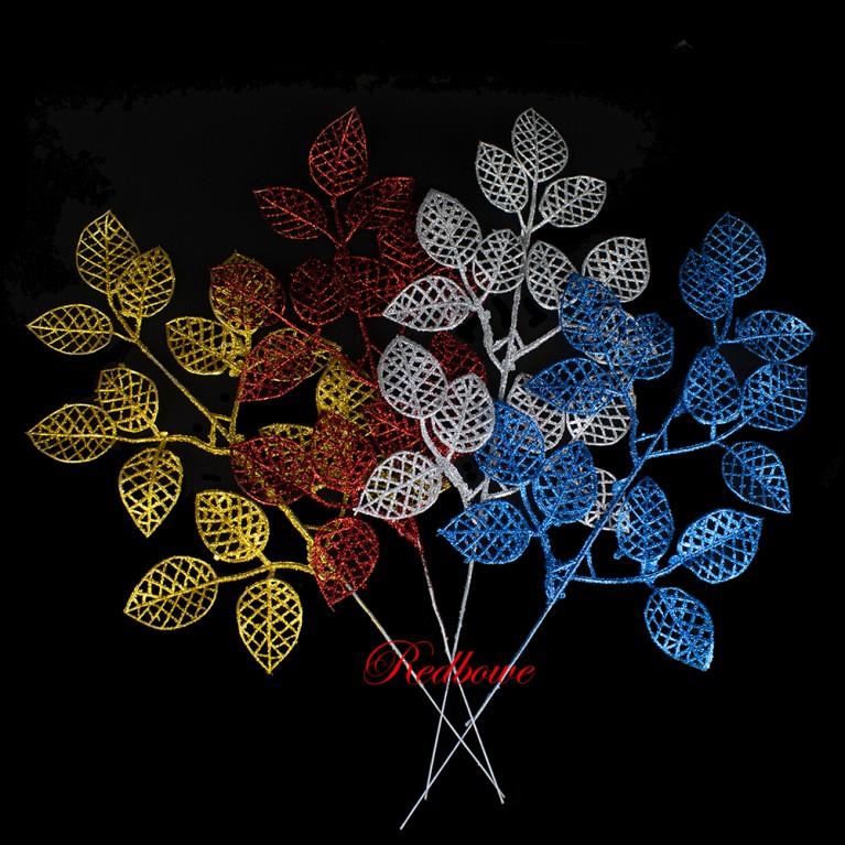 Веточки с ажурными листьями золотые  П456