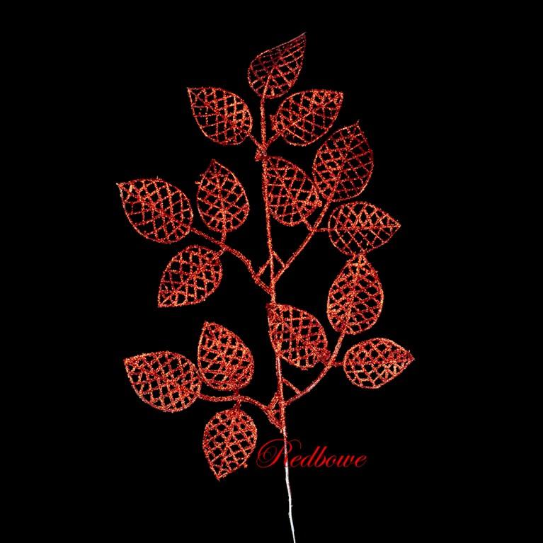 Веточки с ажурными листьями красные П456