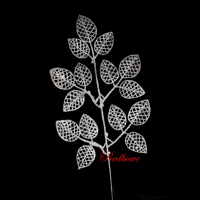 Веточки с ажурными листьями серебряные  П456