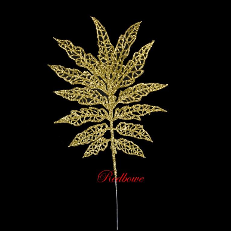 Веточка с листьями  золотая П457